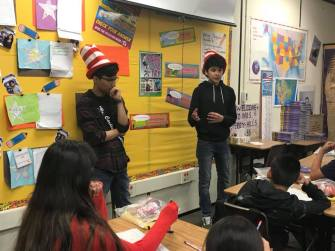 Omar and Roman volunteering at Riley for Read Across America Day!