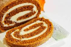 Pumpkin Roll with white icing for thanksgiving autumn food